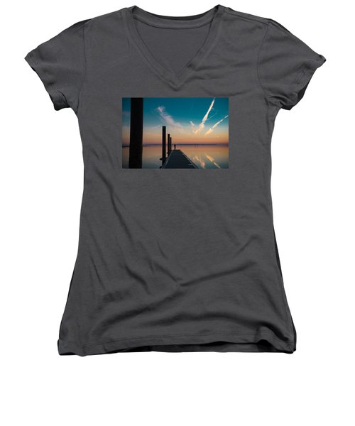 Women's V-Neck T-Shirt (Junior Cut) featuring the photograph Follow Me by Thierry Bouriat