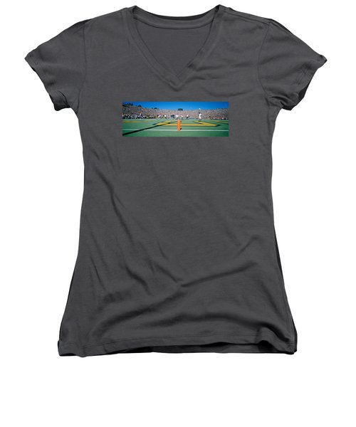 Football Game, University Of Michigan Women's V-Neck T-Shirt (Junior Cut) by Panoramic Images