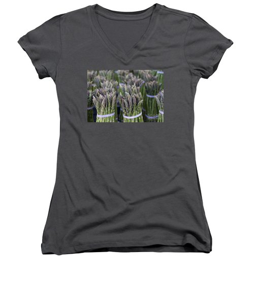 Fresh Asparagus Women's V-Neck T-Shirt (Junior Cut) by Mike  Dawson