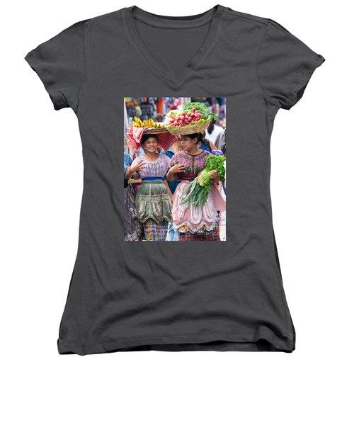 Fruit Sellers In Antigua Guatemala Women's V-Neck T-Shirt (Junior Cut) by David Smith