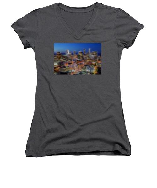 Glowing City Women's V-Neck T-Shirt (Junior Cut) by Kelley King