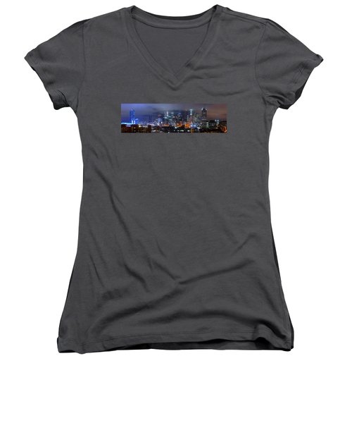 Gotham City - Los Angeles Skyline Downtown At Night Women's V-Neck T-Shirt (Junior Cut) by Jon Holiday