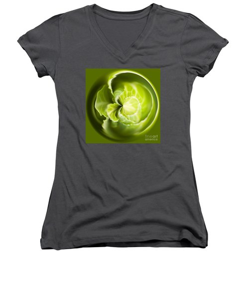 Green Cabbage Orb Women's V-Neck T-Shirt (Junior Cut) by Anne Gilbert