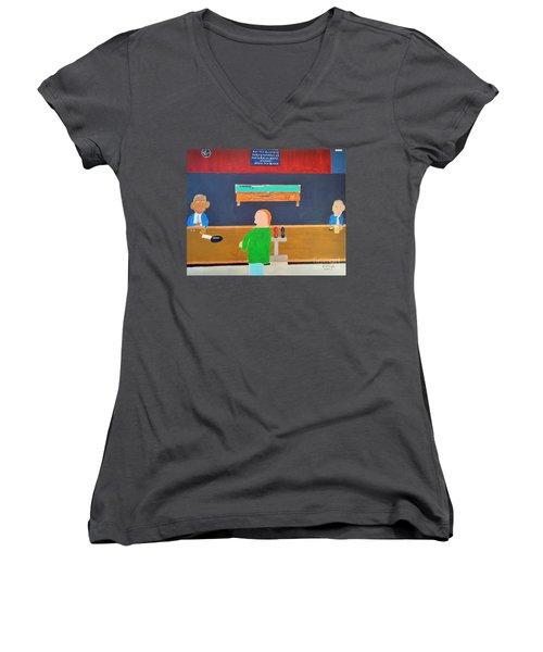 He Did It Women's V-Neck T-Shirt (Junior Cut) by Dennis ONeil