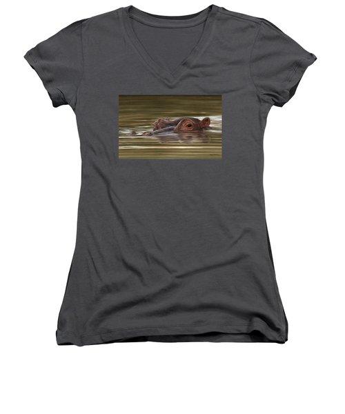 Hippo Painting Women's V-Neck T-Shirt (Junior Cut) by Rachel Stribbling