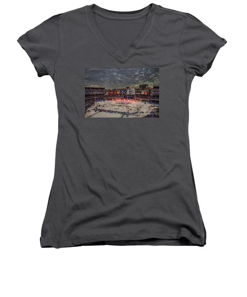 Hockey At Yankee Stadium Women's V-Neck T-Shirt (Junior Cut) by David Rucker