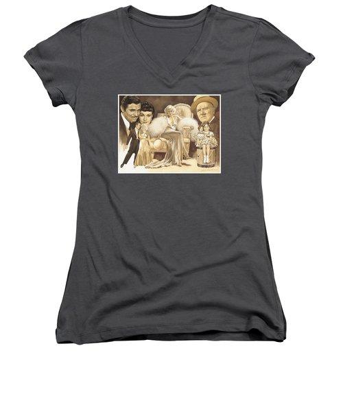 Hollywoods Golden Era Women's V-Neck T-Shirt (Junior Cut) by Dick Bobnick