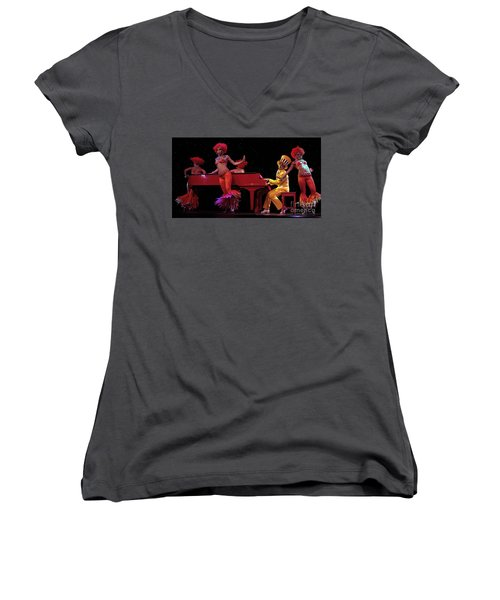 I Love Rock And Roll Music Women's V-Neck T-Shirt (Junior Cut) by Bob Christopher