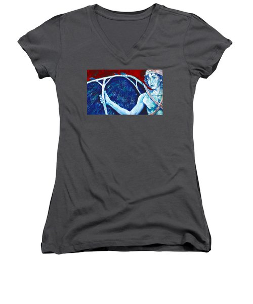Icarus Women's V-Neck T-Shirt (Junior Cut) by Derrick Higgins