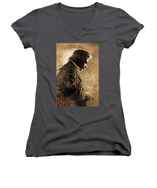 Johnny Cash Artwork Women's V-Neck T-Shirt (Junior Cut) by Sheraz A