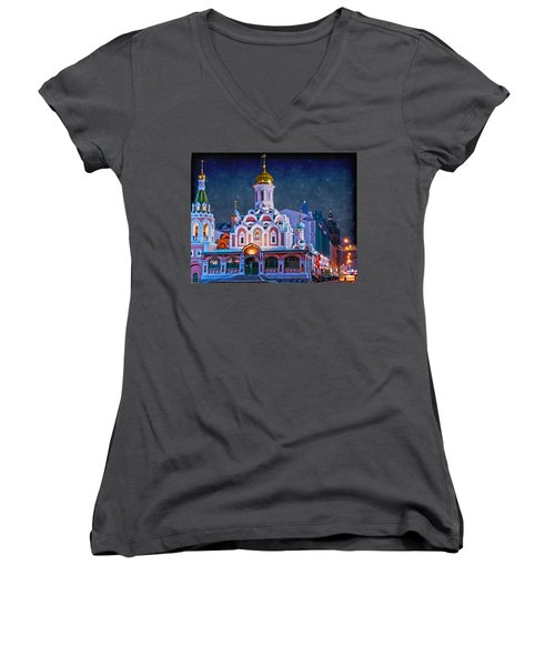 Kazan Cathedral. Red Square. Moscow Russia Women's V-Neck T-Shirt (Junior Cut) by Juli Scalzi