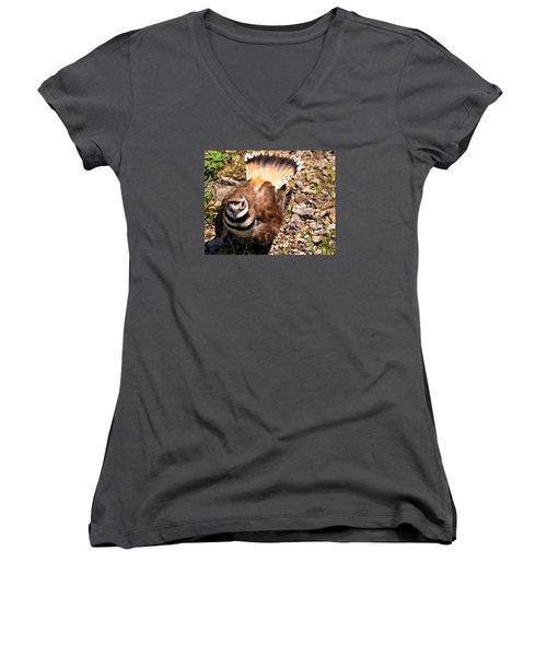 Killdeer On Its Nest Women's V-Neck T-Shirt (Junior Cut) by Chris Flees