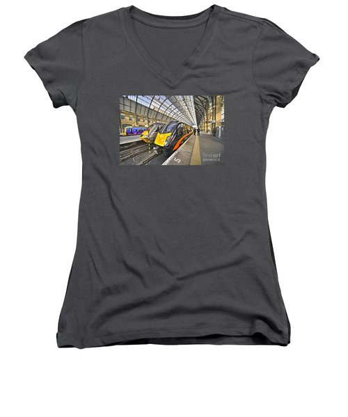 Kings Cross Variety  Women's V-Neck T-Shirt (Junior Cut) by Rob Hawkins