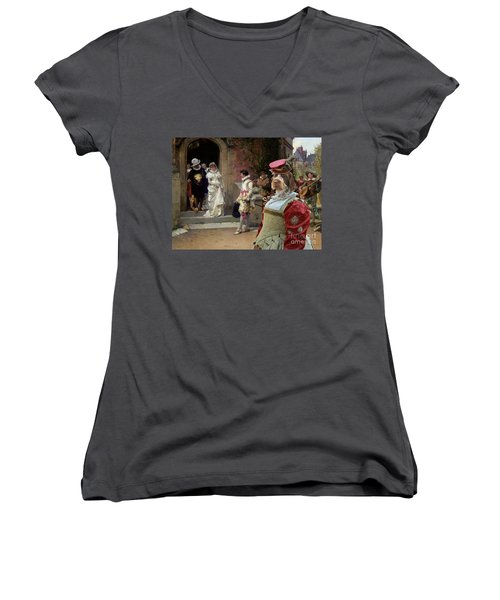 Korthals Pointing Griffon Art Canvas Print Women's V-Neck T-Shirt (Junior Cut) by Sandra Sij