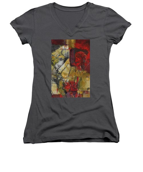 Led Zeppelin Women's V-Neck T-Shirt (Junior Cut) by Corporate Art Task Force