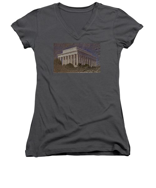 Lincoln Memorial Women's V-Neck T-Shirt (Junior Cut) by Skip Willits