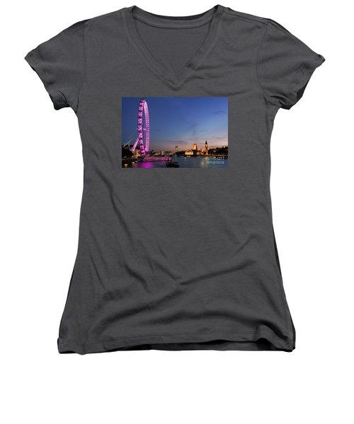 London Eye Women's V-Neck T-Shirt (Junior Cut) by Rod McLean
