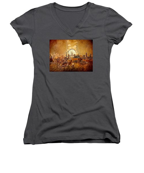 London Skyline Old Vintage  Women's V-Neck T-Shirt (Junior Cut) by Bekim Art