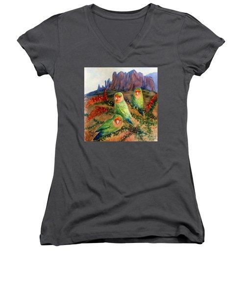 Lovebirds Women's V-Neck T-Shirt (Junior Cut) by Marilyn Smith