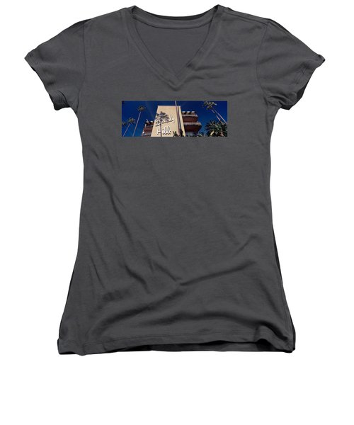 Low Angle View Of A Hotel, Beverly Women's V-Neck T-Shirt (Junior Cut) by Panoramic Images