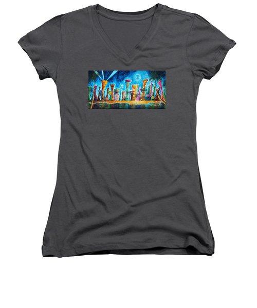Miami City South Beach Original Painting Tropical Cityscape Art Miami Night Life By Madart Absolut X Women's V-Neck T-Shirt (Junior Cut) by Megan Duncanson