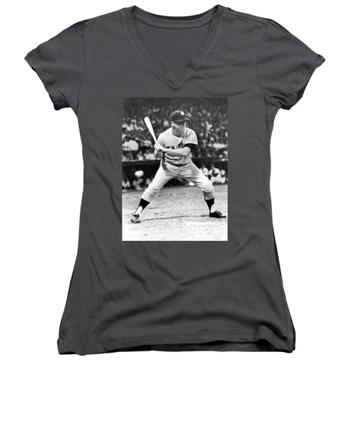 Mickey Mantle At Bat Women's V-Neck T-Shirt (Junior Cut) by Underwood Archives