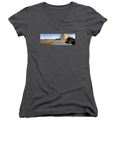 Monument At The Riverside, Jefferson Women's V-Neck T-Shirt (Junior Cut) by Panoramic Images
