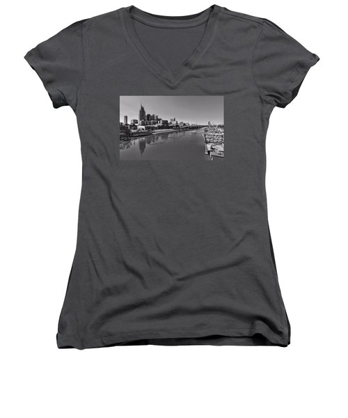 Nashville Skyline In Black And White At Day Women's V-Neck T-Shirt (Junior Cut) by Dan Sproul