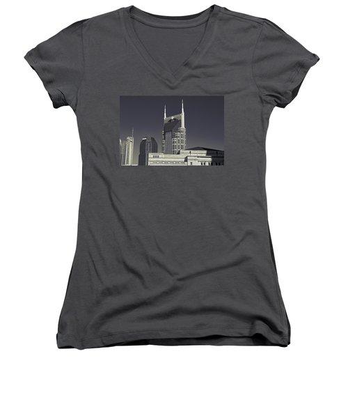 Nashville Tennessee Batman Building Women's V-Neck T-Shirt (Junior Cut) by Dan Sproul
