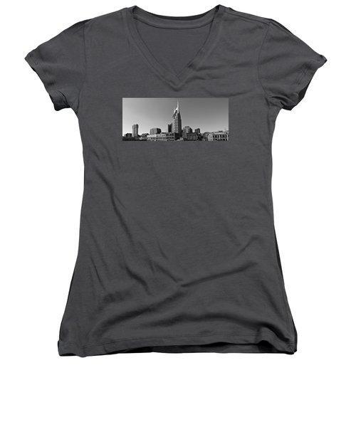 Nashville Tennessee Skyline Black And White Women's V-Neck T-Shirt (Junior Cut) by Dan Sproul