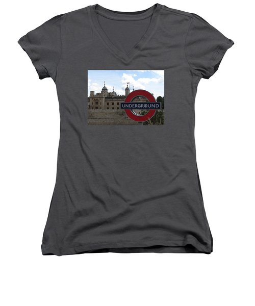 Next Stop Tower Of London Women's V-Neck T-Shirt (Junior Cut) by Jenny Armitage