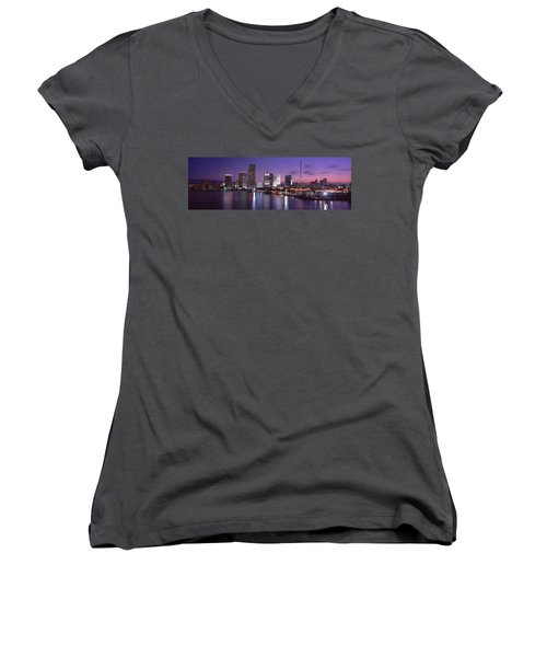Night Skyline Miami Fl Usa Women's V-Neck T-Shirt (Junior Cut) by Panoramic Images