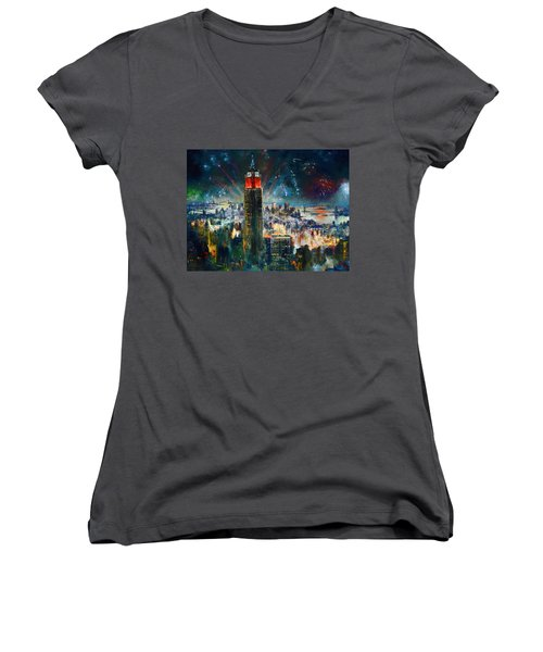 Nyc In Fourth Of July Independence Day Women's V-Neck T-Shirt (Junior Cut) by Ylli Haruni