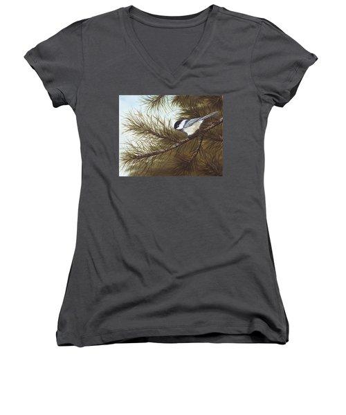 Out On A Limb Women's V-Neck T-Shirt (Junior Cut) by Rick Bainbridge