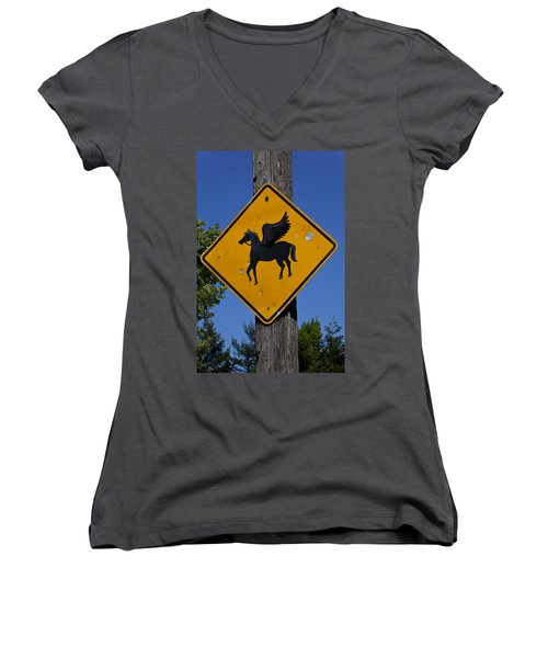 Pegasus Road Sign Women's V-Neck T-Shirt (Junior Cut) by Garry Gay