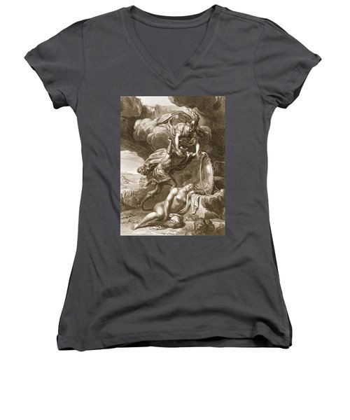 Perseus Cuts Off Medusas Head, 1731 Women's V-Neck T-Shirt (Junior Cut) by Bernard Picart