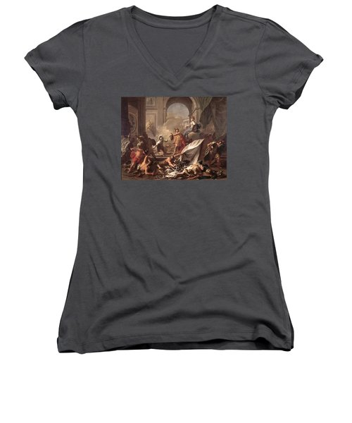 Perseus, Under The Protection Of Minerva, Turns Phineus To Stone By Brandishing The Head Of Medusa Women's V-Neck T-Shirt (Junior Cut) by Jean-Marc Nattier