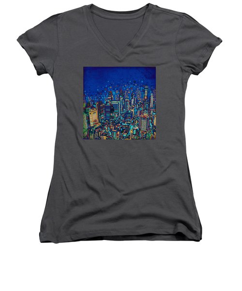 Philadelphia Panorama Pop Art 2 Women's V-Neck T-Shirt (Junior Cut) by Bekim Art