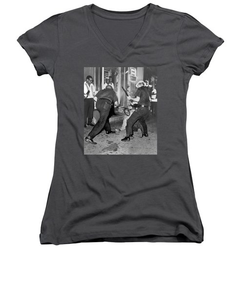 Protester Clubbed In Harlem Women's V-Neck T-Shirt (Junior Cut) by Underwood Archives