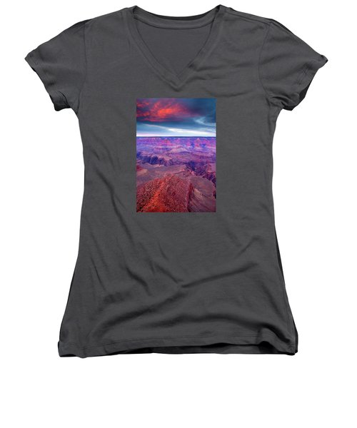 Red Rock Dusk Women's V-Neck T-Shirt (Junior Cut) by Mike  Dawson