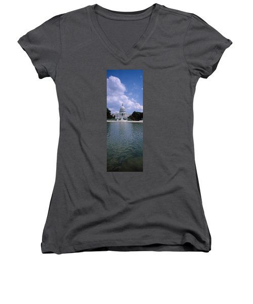 Reflecting Pool With A Government Women's V-Neck T-Shirt (Junior Cut) by Panoramic Images