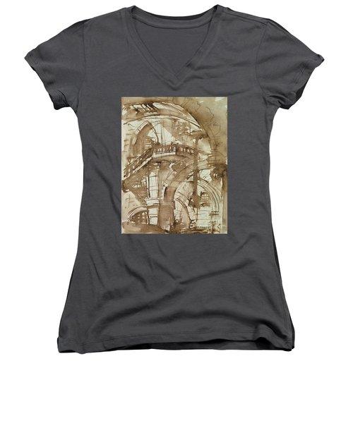 Roman Prison Women's V-Neck T-Shirt (Junior Cut) by Giovanni Battista Piranesi
