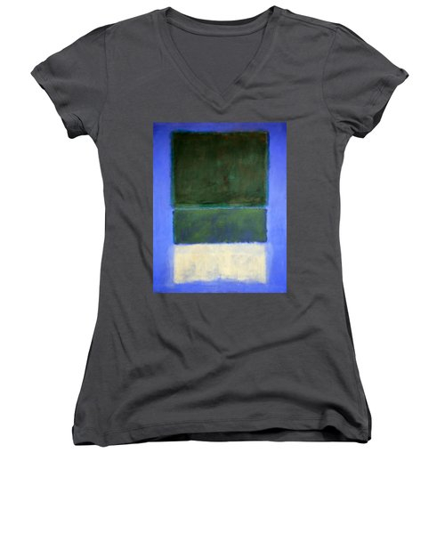 Rothko's No. 14 -- White And Greens In Blue Women's V-Neck T-Shirt (Junior Cut) by Cora Wandel