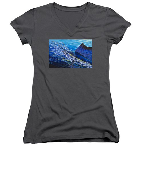 Sail On The Reef Off0082 Women's V-Neck T-Shirt (Junior Cut) by Carey Chen