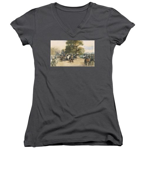 Scene In Hyde Park Women's V-Neck T-Shirt (Junior Cut) by Eugene-Louis Lami