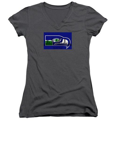 Seattle Seahawks On Seattle Skyline Women's V-Neck T-Shirt (Junior Cut) by Dan Sproul