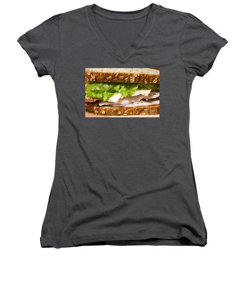 Smoked Turkey Sandwich Women's V-Neck T-Shirt (Junior Cut) by Edward Fielding