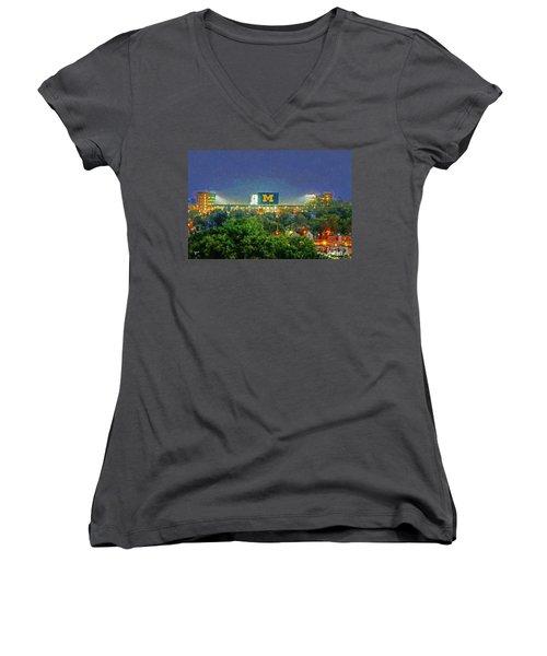 Stadium At Night Women's V-Neck T-Shirt (Junior Cut) by John Farr