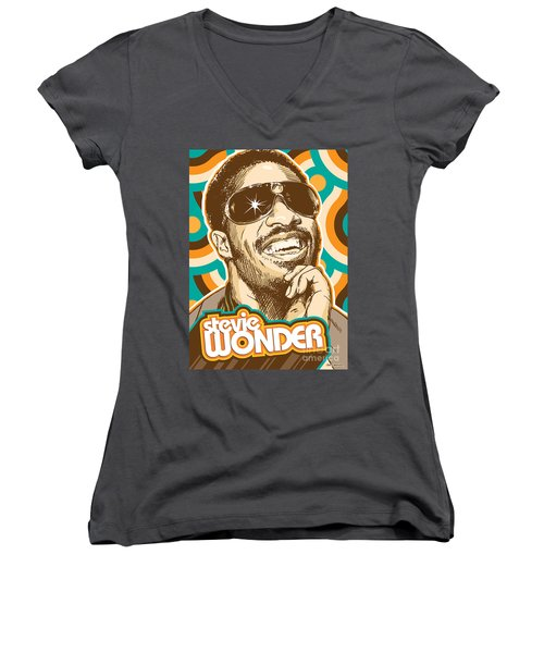 Stevie Wonder Pop Art Women's V-Neck T-Shirt (Junior Cut) by Jim Zahniser