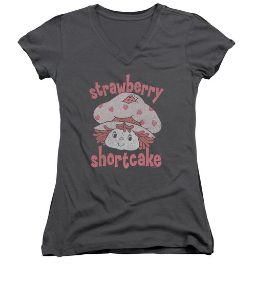 Strawberry Shortcake - Big Head Women's V-Neck T-Shirt (Junior Cut) by Brand A